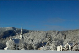 Waitsfield Church and the ski hills in_snow