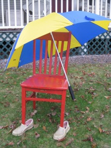 The Red Chair getting shelter at West Hill House B&B