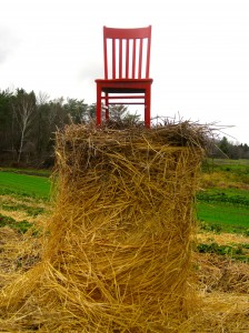 Hay there! The Red Chair enjoys a high perch at Hartshorn's Farm in Waitsfield Vermont