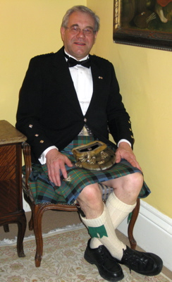 Peter in his MacLaren tartan kilt