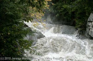 The Warren Falls in surge mode, near Warren, VT, attribution to Jeremy Montemagni as shown on photo.