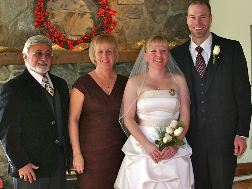 Family join Jennifer and Mark for their December wedding.