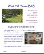 West Hill House B&B Gift Certificate thumbnail