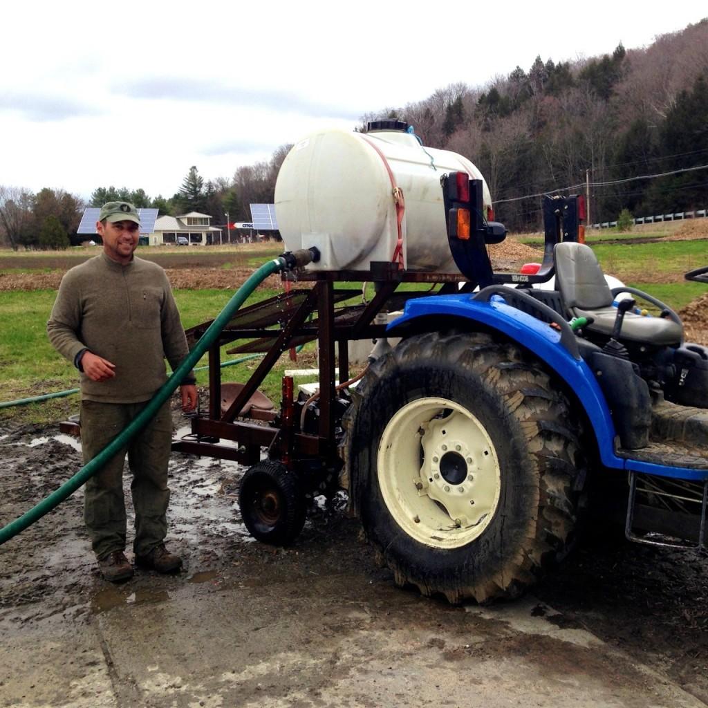 Aaron prepares his tractor,