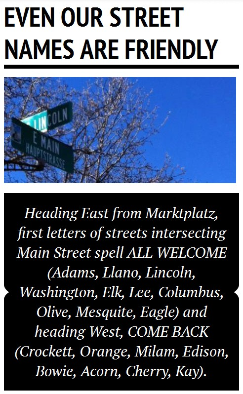 Welcome spelled in street names