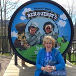 Guest Cheryl at Ben & Jerry's with Jason & Karl peeping through