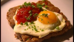 Lorne sausage with a fried egg.