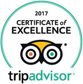 2017 TripAdvisor Certificate of Excellence emblem