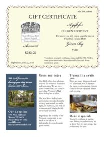 Gift Certificate from West Hill House B&B