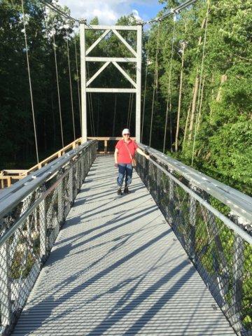 Walking on Long Trail Bridge