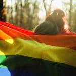 Couple with rainbow flag