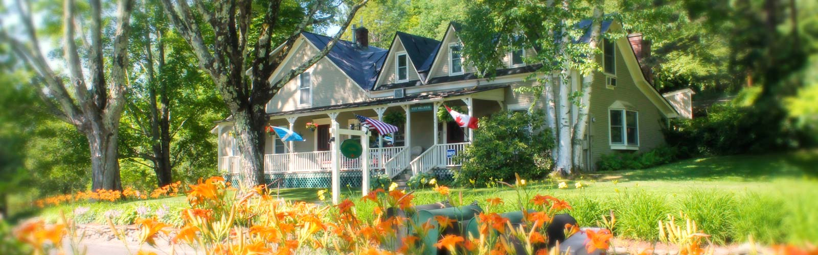 Inn front with day lilies