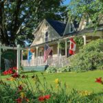Inn porch with flags