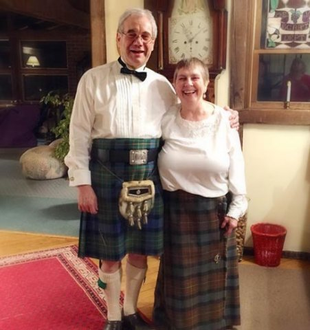 Vermont Innkeepers Peter & Susan MacLaren of West Hill House B&B in Highland Dress