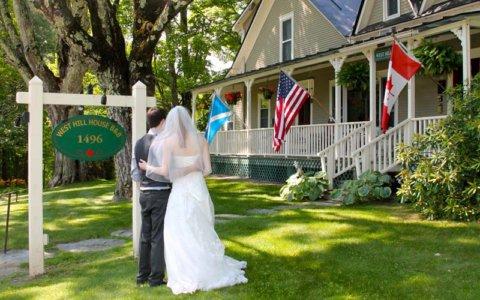 Wedding couple at inn