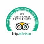 Trip Advisor 2018 Certificate of Excellence and 5 year hall of fame