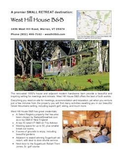 West Hill House B&B Meetings Brochure