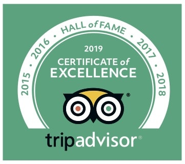 Trip Advisor 2019 Certificate of Excellence and 5 year hall of fame