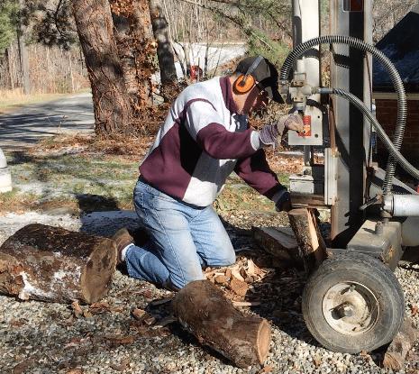 wood splitter at work